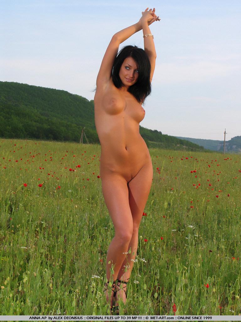 Раздетая модель с темными волосами Anna Ap показывает своё восхитительное тело посреди поля